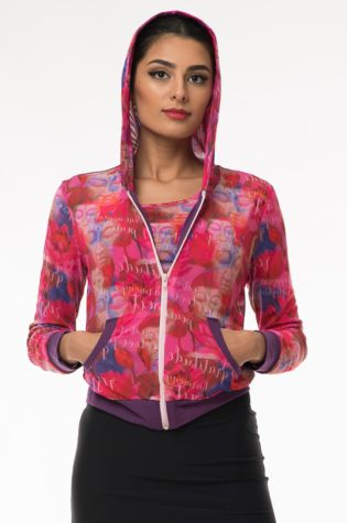 Hoodie – Purple with lightweight pink pattern mesh inlay & purple details