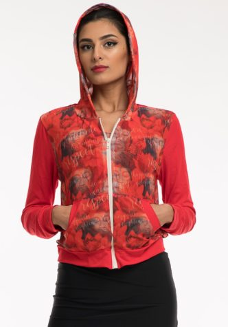 Hoodie – Red with lightweight red pattern mesh inlay & red details