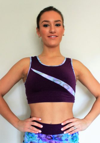 Purple crop tank with lightweight purple mesh inlay and accents