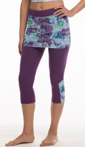 Pants 3/4 length Purple & purple pattern mesh skirt and leg inlay